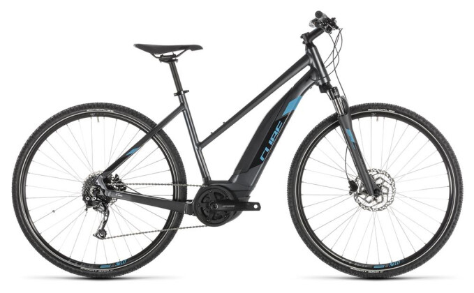 E-Bike Cube Cross Hybrid ONE 400 iridium´n´blue Trapez 2019