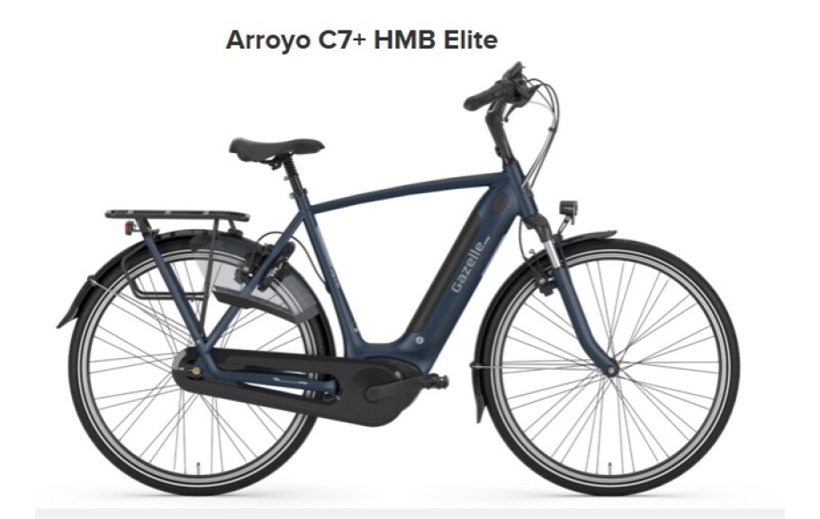 Gazelle Arroyo C7+ HMB Elite, Herren 61, 500Wh, navy matt