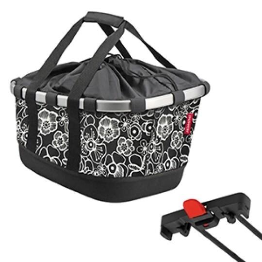 KlickFix Reisenthel Tasche Bikebasket GT für Racktime fleur schwarz