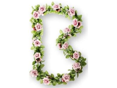 Basil Flower Garland Rosengirlande rosa