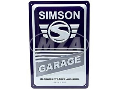Simson Blechprägeschild 20x30 cm, blau weiß, Motiv: SIMSON-Garage