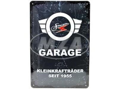 Simson Blechprägeschild 20x30 cm, grau/weiß, Motiv: SIMSON-Garage