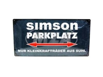 Simson Blechschild 25x50 cm, grau/weiß, Motiv: SIMSON-Parkplatz