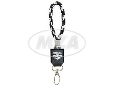 Simson Schlüsselanhänger, kurz, schwarz/weiß, Motiv: SIMSON