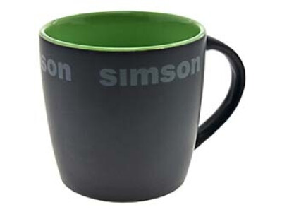 Simson Tasse, Farbe: matt schwarz, grün - Motiv:SIMSON