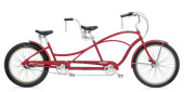 Tandem Electra Bicycle Hellbetty Tandem 3i hot red