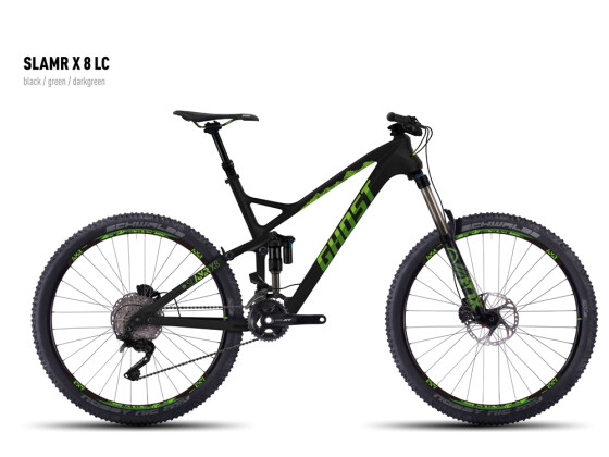 Mountainbike Ghost SLAMR X 8 LC black/green/darkgreen 2016