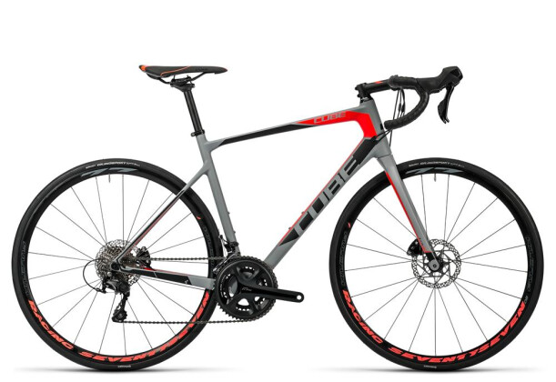 Rennrad Cube Attain GTC Pro Disc grey´n´flashred 2016