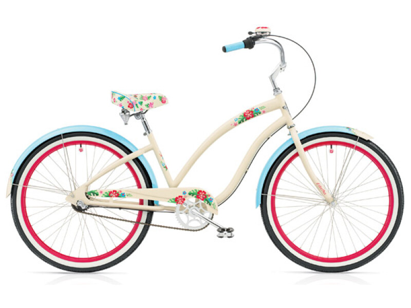 Electra Bicycle Hula 3i ivory/ blue ladies'