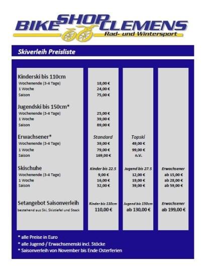 Wintersport - Skiverleih Preisliste