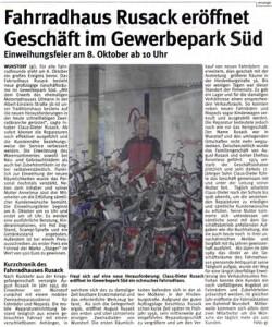 Fahrradhaus Rusack eröffnet ...