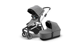 Thule Thule Sleek + Thule Sleek Bassinet - Grey Melange (2020) incl. Versand von Fahrradwelt International, 52441 Linnich